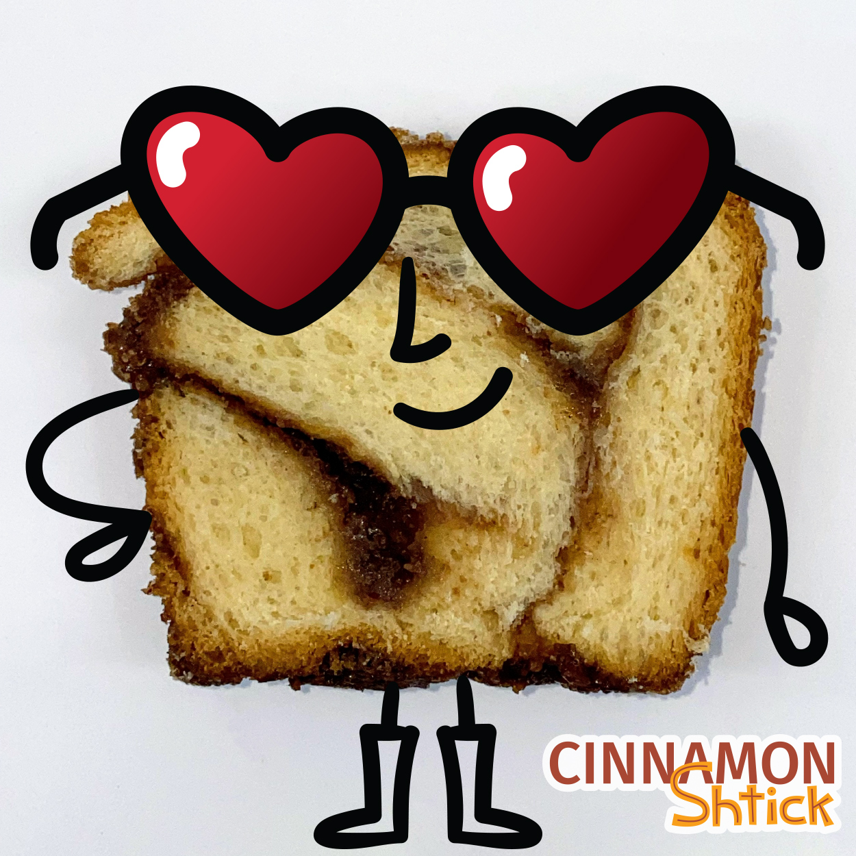slice of babka turned into a character with heart sunglasses on