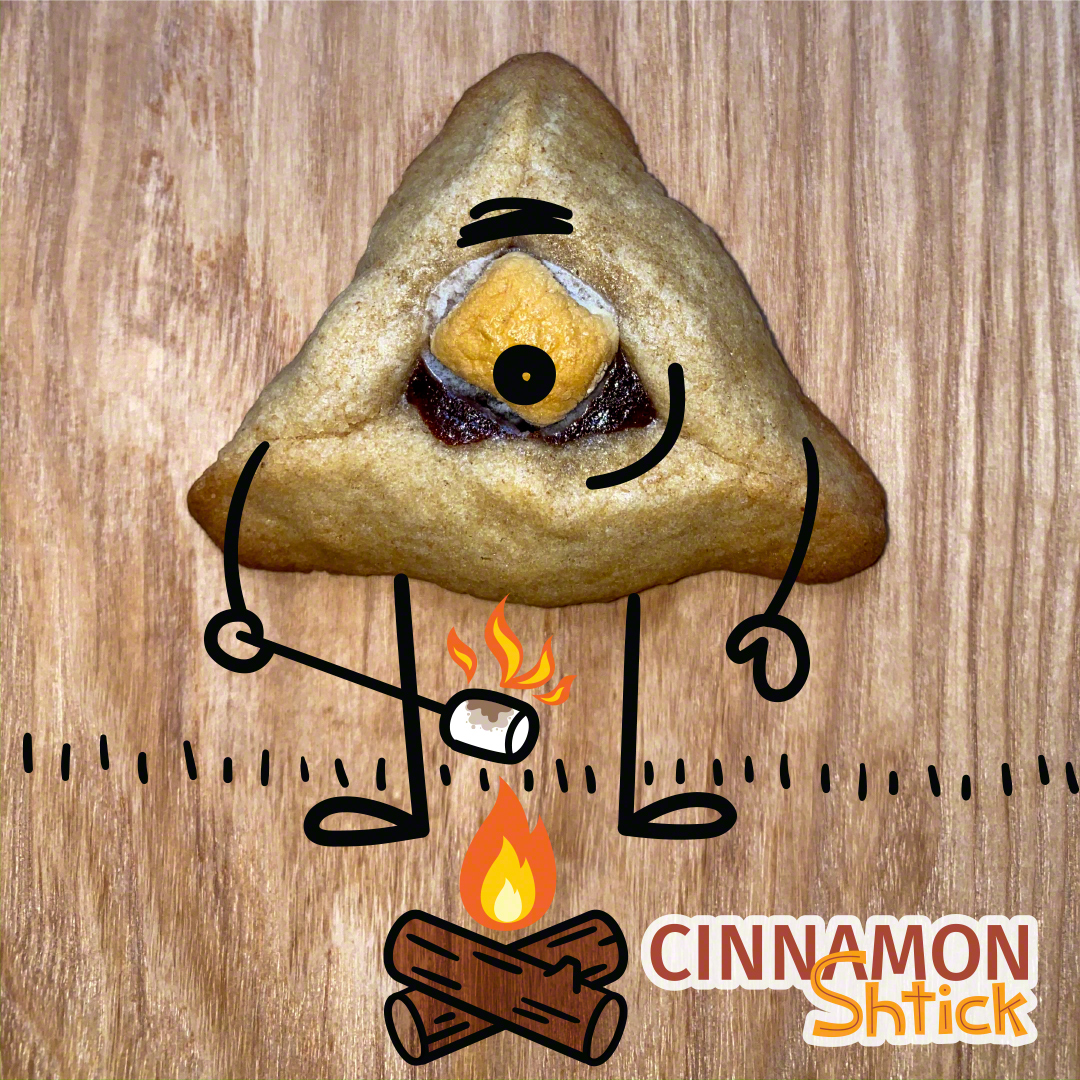 a S'mores Brownie Hamantaschen illustrated to be roasting a marshmallow