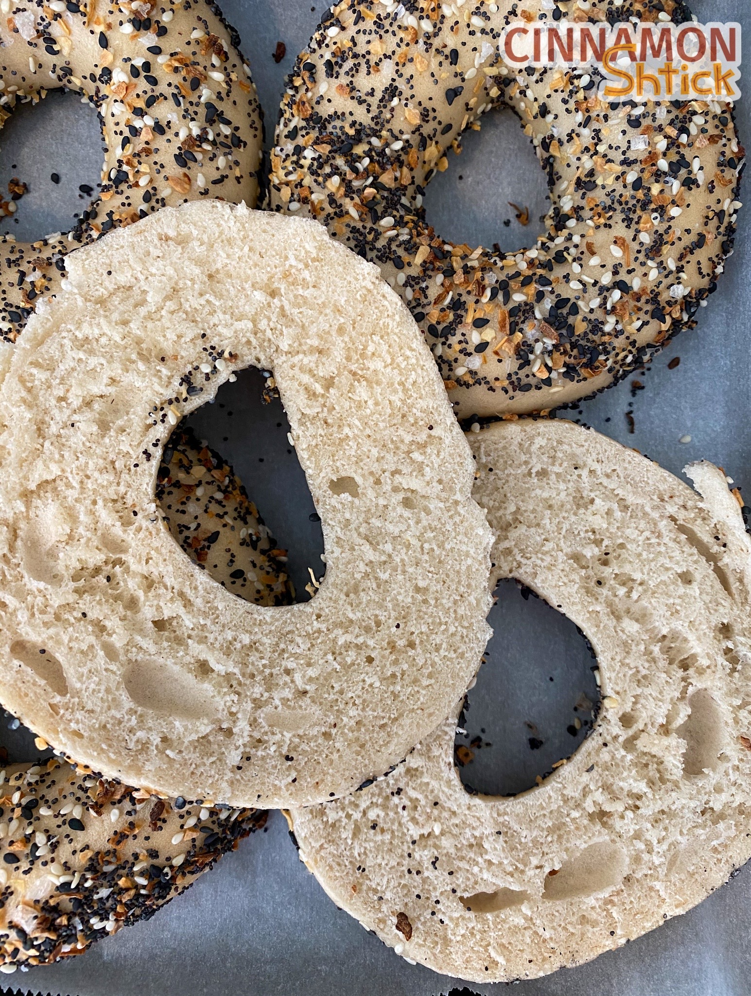 sourdough bagels covered with everything seasoning