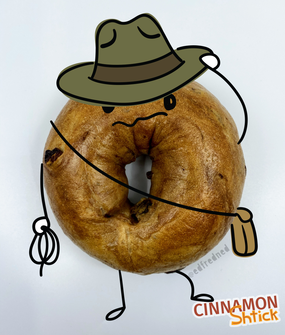 bagel with illustration turning it into a cowboy