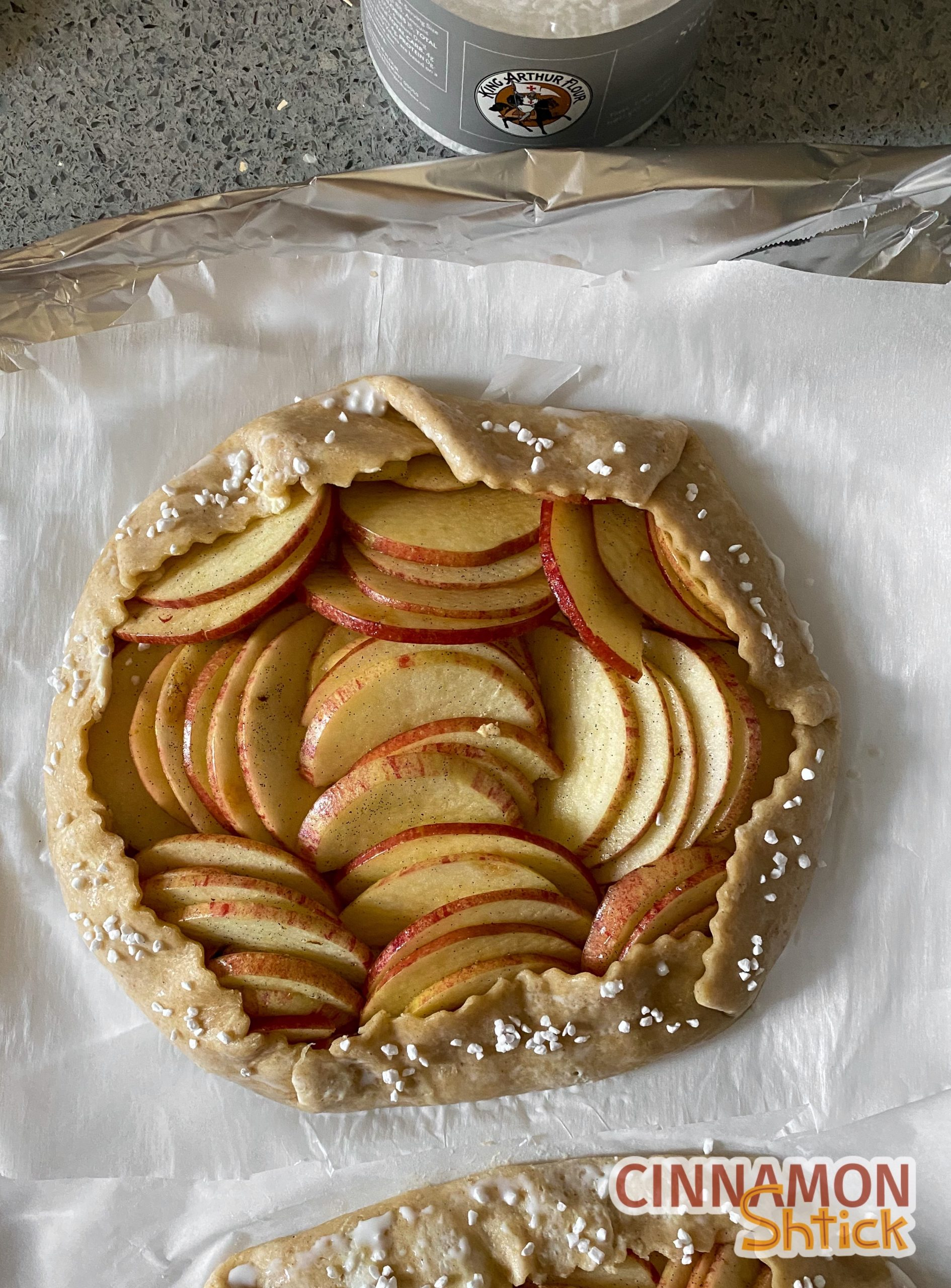 apple galette shaped before baking