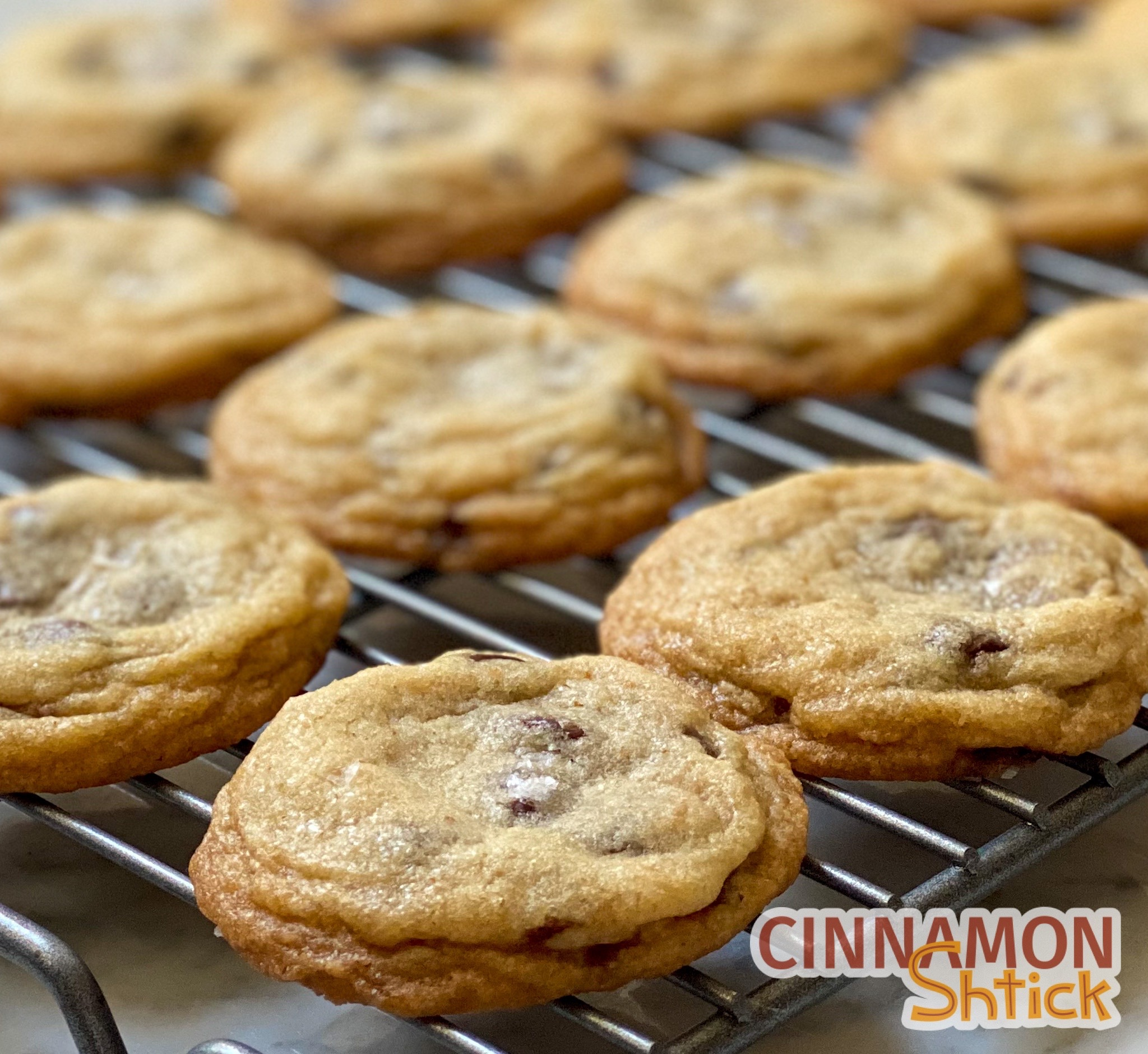 brown butter chocolate chip cookies on cooling rack