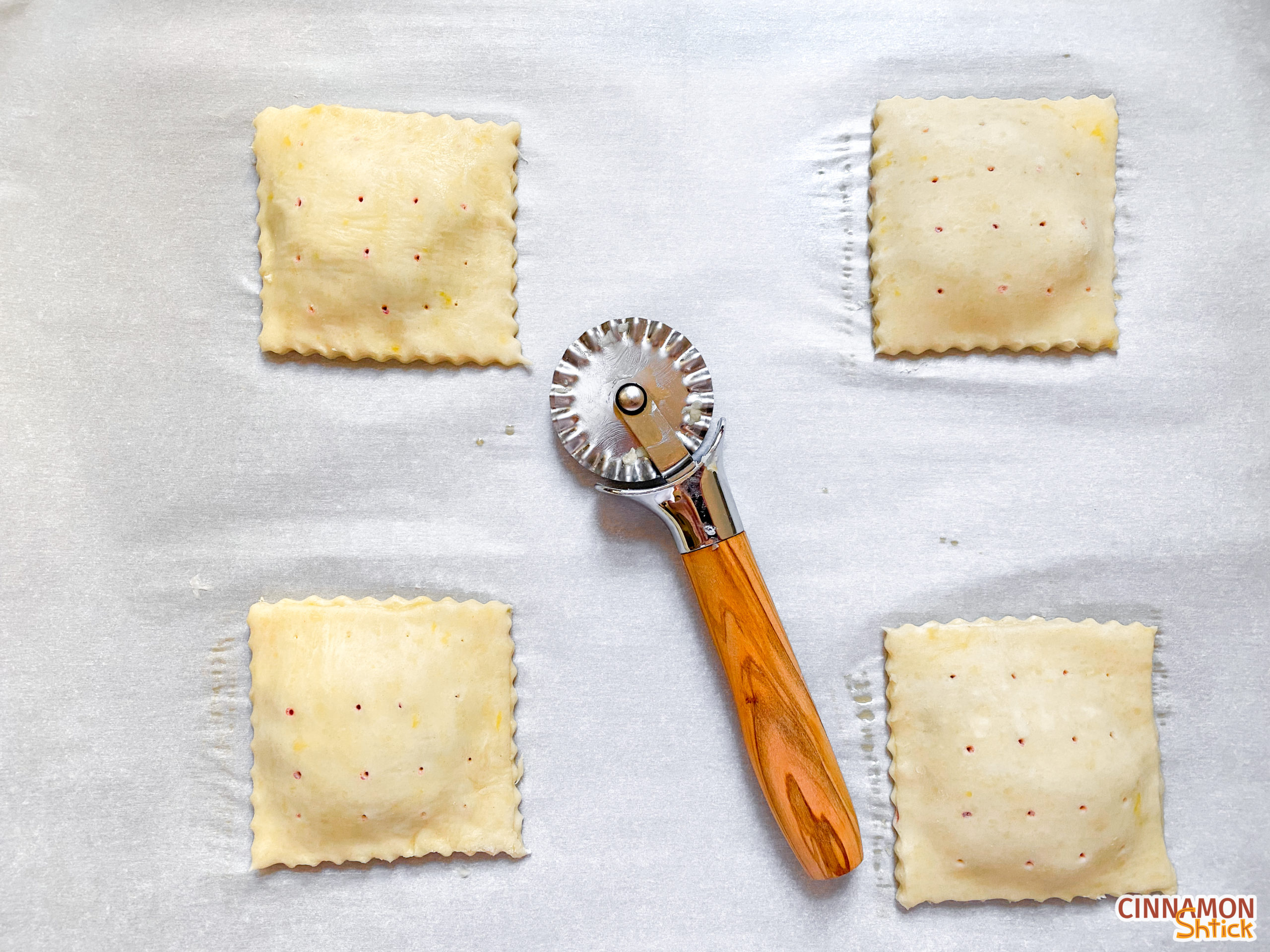 hand pies crimped on edges and holes on top dough