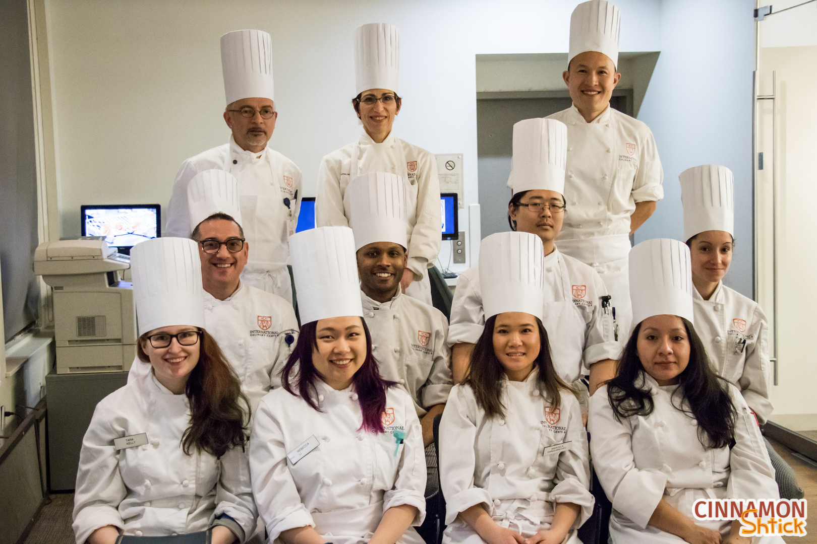 Photo of my ICC class with three of our chef instructors
