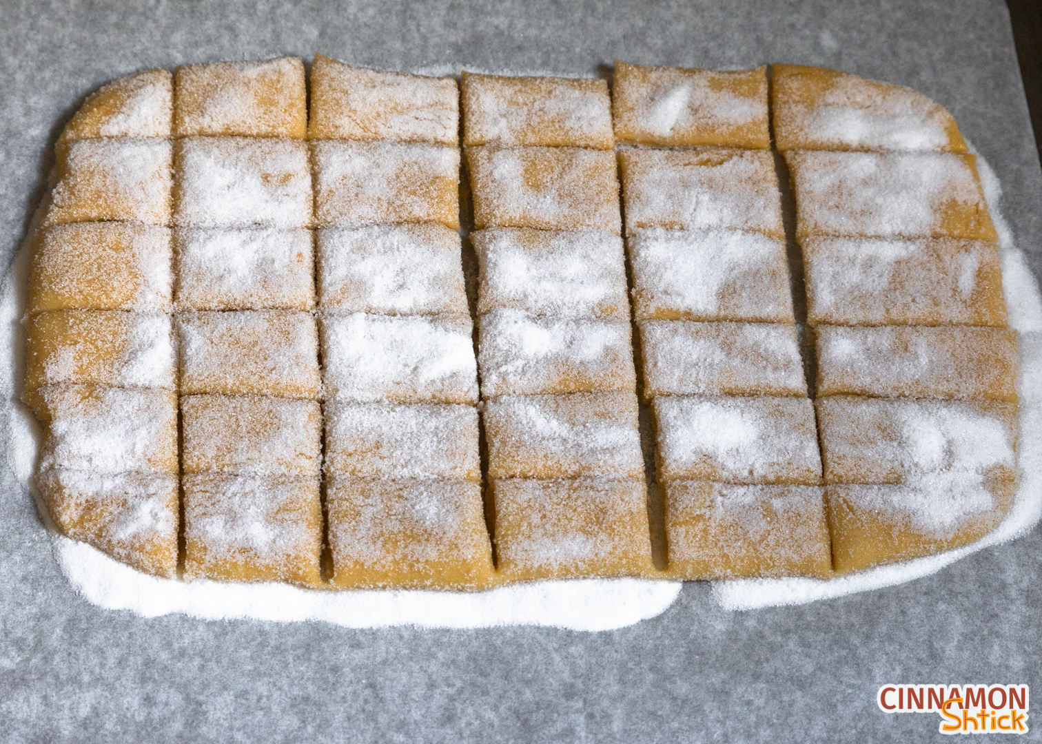 kichel dough cut into 1 inch by 2 inch rectangles