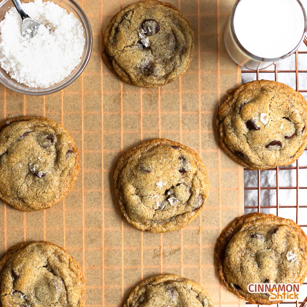 top view of brown butter rye chocolate chip cookies
