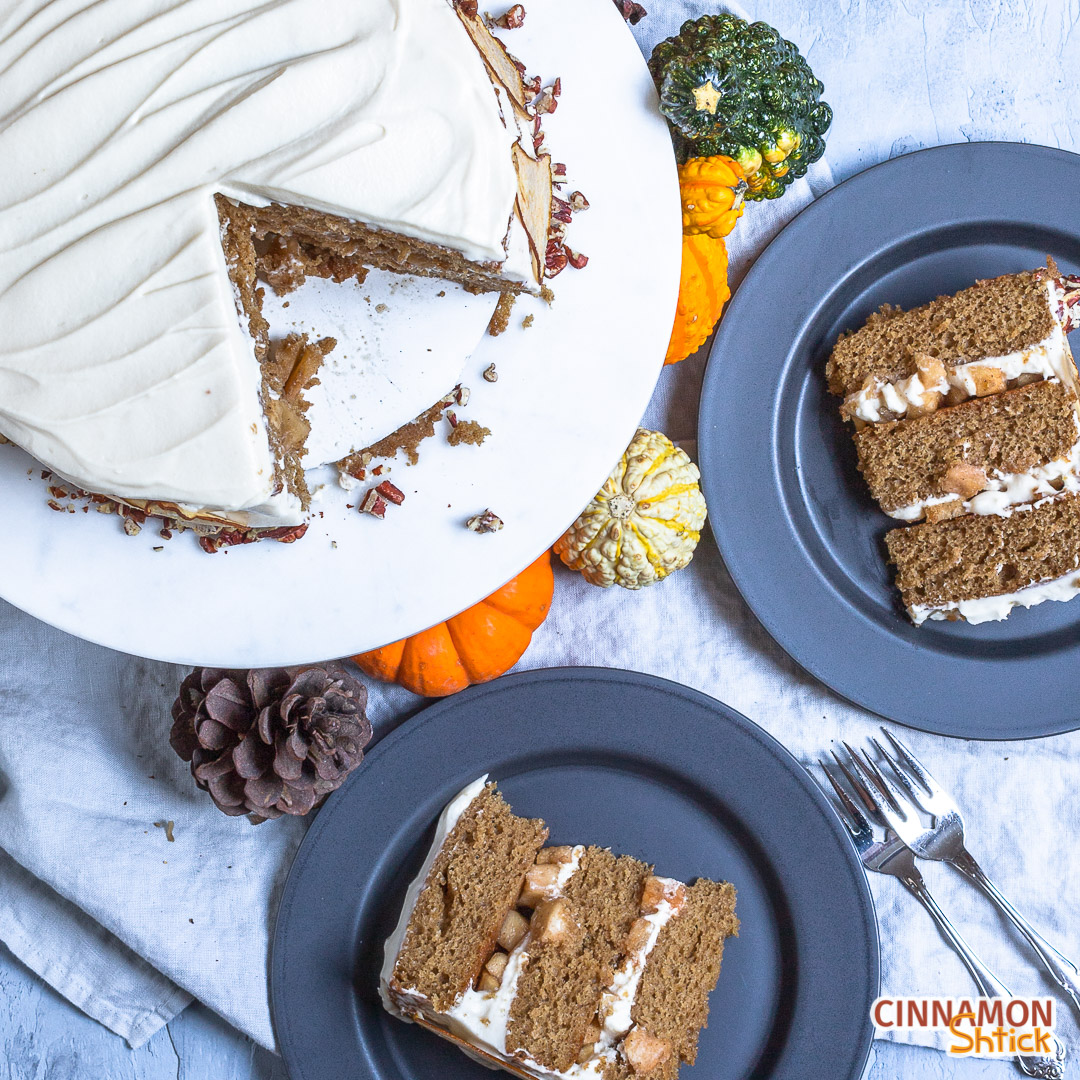 top view of spice cake and two plated slices
