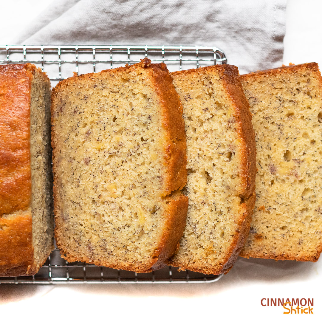 slices of banana bread on cooling rack