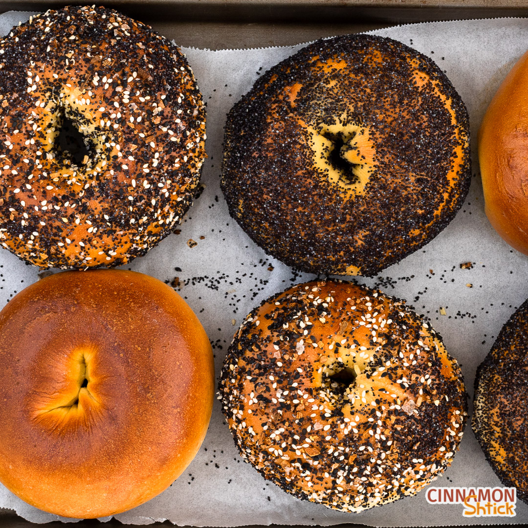egg bagels, some with everything seasoning, some with poppy seeds and some plain